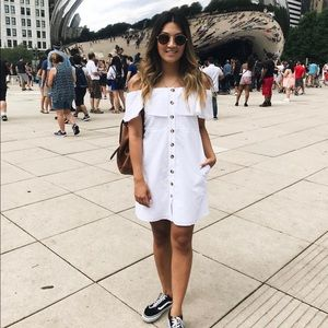 Zara Strapless White Button Dress